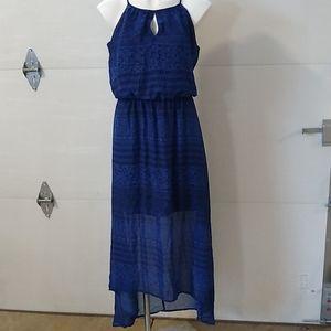 Blue tribal MIDI sleeveless lined asymmetric hem